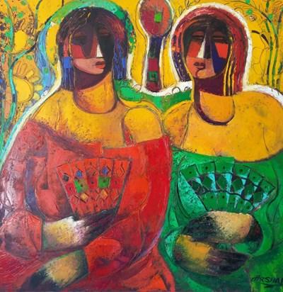 Картините на  Аршак Нерсисян са градски пейзажи, музиканти, натюрморти, морето, майчинство.