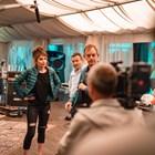 Ирини Жамбонас, Димитър Рачков и Михаил Билалов работят по сцена от филма.  СНИМКА: АНГЕЛ ЮРУКОВ