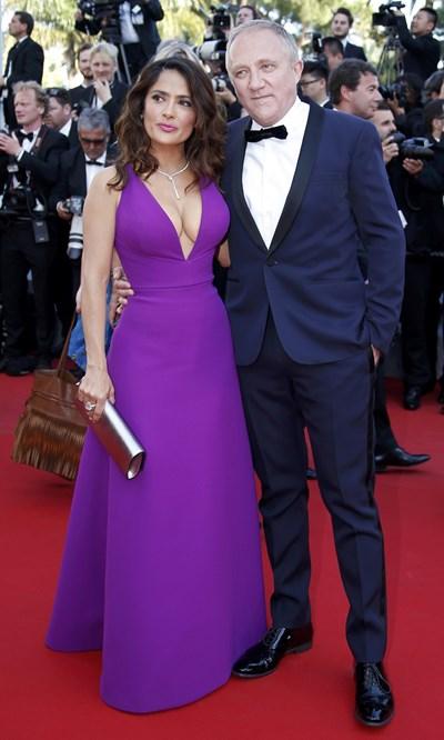 Пино с красивата си съпруга Салма Хайек СНИМКА: РОЙТЕРС
