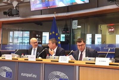 Министър Владислав Горанов по време на заседанието на Комисията по икономически и финансови въпроси на ЕК.