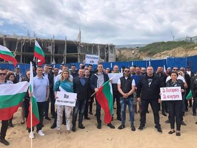 Кметовете на Бургас и Стара Загора се включиха в протеста пред подпорната стена на Алепу.