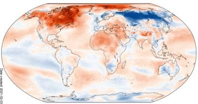 Отклонение на средната температура на въздуха за януари 2021 г., спрямо нормата за 1981 – 2010 г. за цялото земно кълбо. Графики: C3S/ECMWF