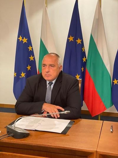 Бойко Борисов участва онлайн в срещата. Снимка правителствена пресслужба