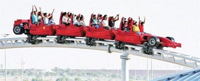 """Най-бързото влакче  """"Формула Роса"""" в Абу Даби достига скорост 239 км в час. СНИМКИ: РОЙТЕРС И АРХИВ"""