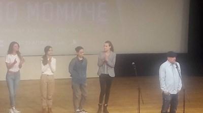 Актрисите Диляна Попова, Любомира Башева, Елена Телбис и Дария Симеонова се качиха на сцената с режисьора на лентата - Мариан Вълев.