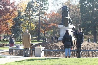 Лъвът се върна днес на автентичното си място - парка пред НДК. Снимки РУМЯНА ТОНЕВА