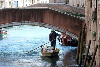Гондолиер във Венеция разнася плодове и зеленчуци по празните канали в извънредното положение, блокирало града.  СНИМКИ: РОЙТЕРС