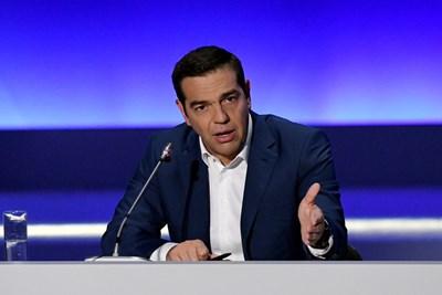 Гръцкият премиер Алексис Ципрас на пресконференция в Солун СНИМКА: Ройтерс