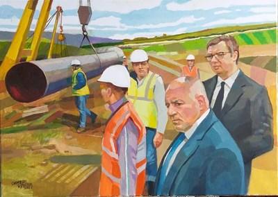 """Дарената картина как премиерът Бойко Борисов и президентът на Сърбия Александър Вучич наблюдават строителството на газопровода """"Балкански поток. СНИМКА: Личен архив"""