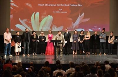"""Екипът на """"Ага"""" на тържествената церемония в Сараево - отпред е режисьорът Милко Лазаров."""