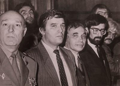 Филип Димитров, Желю Желев и Димитър Луджев (от дясно наляво) в еуфоричните години на СДС.
