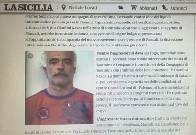 Факсимиле със снимка на нападателя от lasicilia.it