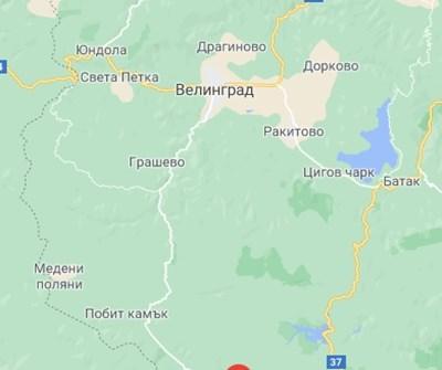 Пътят Велинград - Сърница Снимка: Гугъл мапс