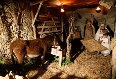 В Малта пресъздават сцената на Рождество с актьори и бебе, които играят Мария, Йосиф и Исус. СНИМКИ: РОЙТЕРС