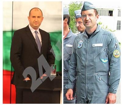Румен Радев като кандидат президент и като летец през 2005 г. СНИМКА: 24 часа