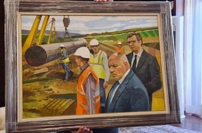 """Премиерът Борисов подари на Александър Вучич картина на откриването на """"Балкански поток"""" СНИМКА: Новости"""