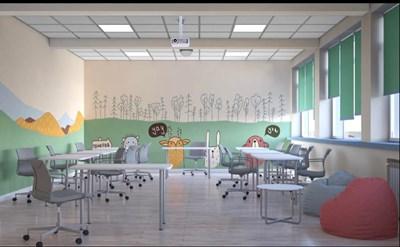 """Така ще изглежда един от четирите кабинета от новия втори STEM център в столичното 119-о средно училище """"Акад. Михаил Арнаудов"""". Той трябва да бъде открит през следващата учебна година за учениците от 1-и до 4-и клас. За да получи финансиране, ръководството е кандидатствало по националната програма на Министерството на образованието и науката. Отпуснатите средства са 260 хил. лв."""