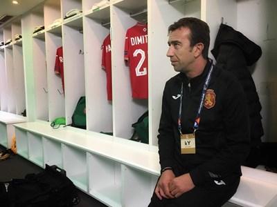 Георги Петков в съблекалнята на стадиона в Никозия преди мача. Снимка: фейсбук на националния отбор