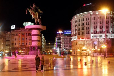 Централният площад на Скопие   СНИМКА: РОЙТЕРС