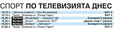 Спорт по тв днес: 2 мача от Бундеслигата, футбол и от Беларус, класики в тениса