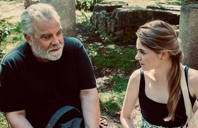 Владо Пенев с Радина Боршош по време на снимките на филма
