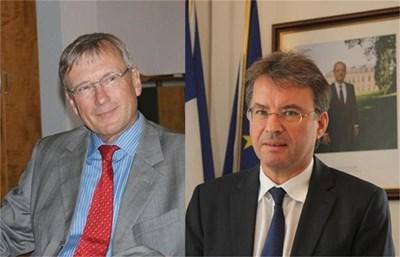 Матиас Хьопфнер, посланик на Германия (вляво) и Филип Отие, посланик на Франция
