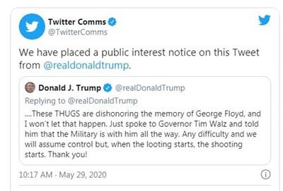 """""""Туитър"""" пак лепна етикет """"възхвала на насилие"""" на туит на Тръмп"""