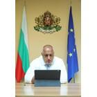 Бойко Борисов на видеоконферентна връзка. Снимка: правителствена пресслужба