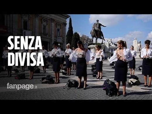 Стюардеси от бившата Алиталия се съблякоха на протест в Рим (Видео, снимки)