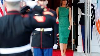 Мелания Тръмп в смарагдовозелена рокля за Свети Патрик (Снимки)