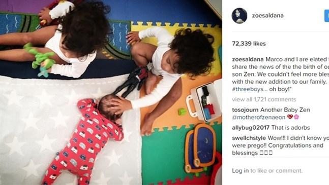 Зоуи Салдана изненада всички с новината, че е родила третото си дете