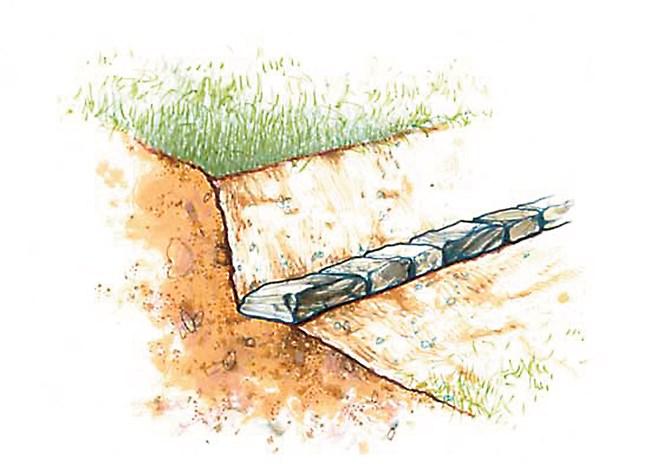 Каменна подпорна стена в двора обикновено е висока около 15 см