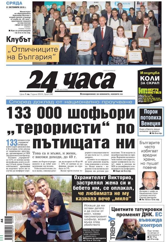 """Факсимиле от първа страница на """"24 часа"""" от 31 октомври"""