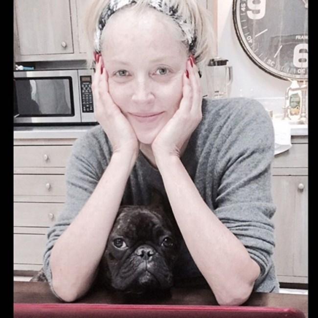 57-годишната Шарън Стоун не се свени да се покаже без грим в социалните мрежи. Единственото нещо, което допълва визията й, е френският й булдог Джо, снимка: Instagram/Sharon Stone