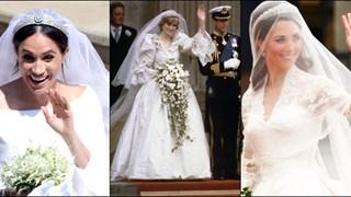 Има ли прилика между сватбените рокли на принцеса Даяна, Кейт и Меган? (снимки)