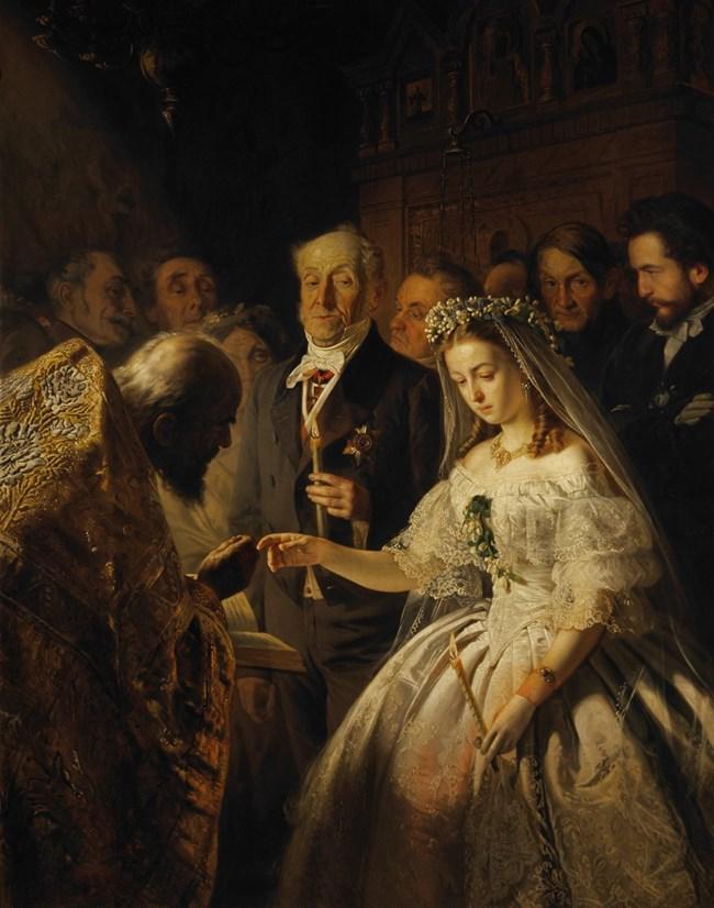 """Картината """"Неравен брак"""" от 1862 г. на руския художник Василий Пукирев третира проблема в Русия по онова време със завишения брой бракове по сметка, в които възрастни мъже се женят за млади невести. Явлението е толкова масово, че през 1861 г. Синодът на руската православна църква осъжда браковете с голяма разлика във възрастта."""