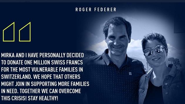 Федерер и жена му дариха 1 млн. швейцарски франка за пострадали от вируса