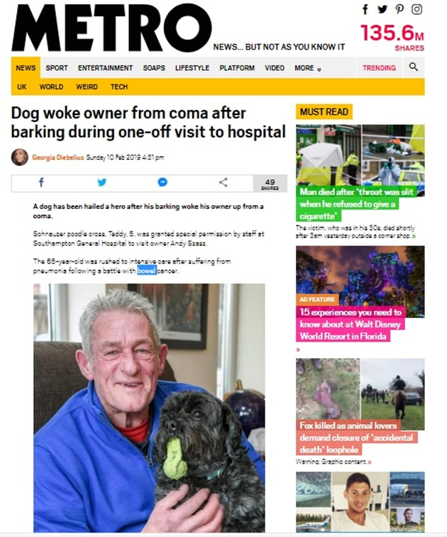 65-годишен се събуди от кома, след като чу кучето си