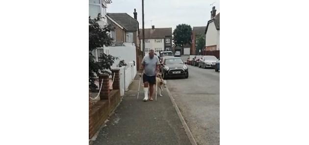 Куче накуцва от съчувствие към стопанина си със счупен крак (Видео)