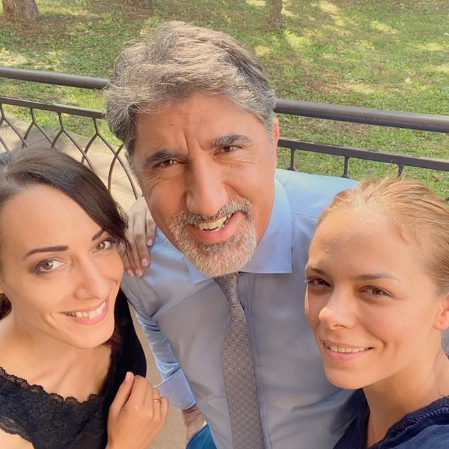 С колегите си от сериала Искра Донова и Башар Рахал