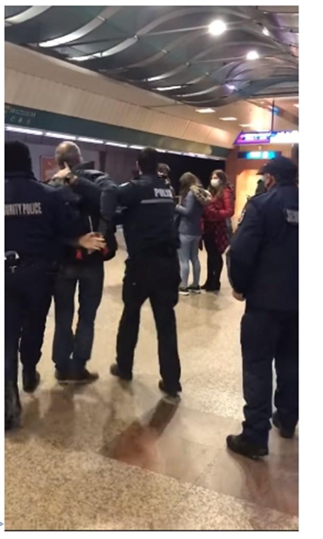 Арест в столичното метро заради липса на маска (Видео)