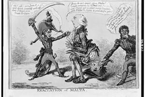 Английска карикатура осмива ниския ръст на Наполеон.