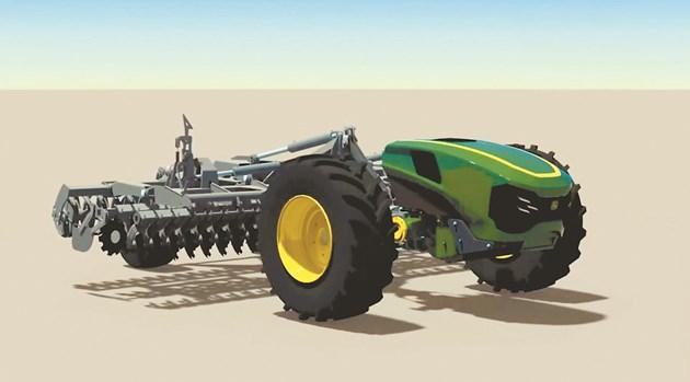 Тракторът на John Deere работи с колела или гумени вериги