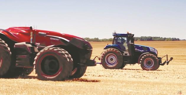 Футуристичен тандем - автономен трактор New Holland NHDrive T4.110F и устройството на Case IH