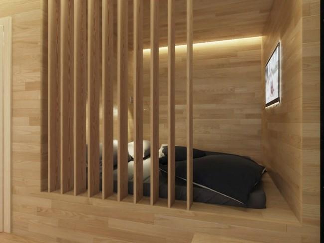Спалнята е в дървен куб