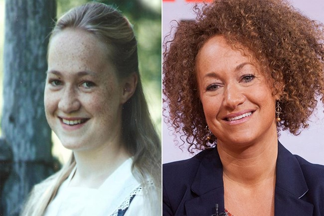 Преди да промени расата си, Рейчъл Долезал е била със светли черти (вляво), а по-късно е с тъмна кожа и коса (вдясно).
