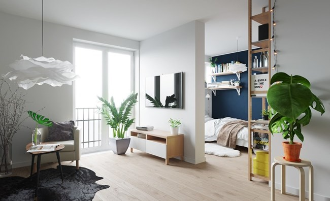 Малката квартира е светла, а спалнята е отделена от останалите зони