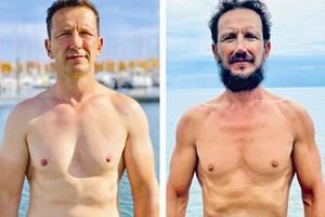 Стефан Иванов преди (вляво) и след плаването - след експедицията отслабва с 10 кг.