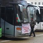 Автобусни превозвачи и таксиметрови шофьори на протест в  София. (Снимки и Видео)