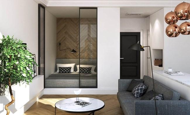 Спалнята е повдигната леко и отделена в малък куб Снимки kvartblog.ru